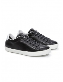 Mens shoes online: Leather Crown M_LC06_20106 black leather sneakers