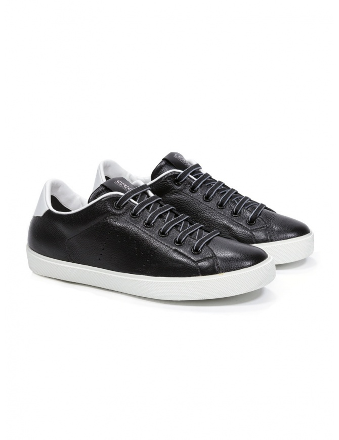 Leather Crown M_LC06_20106 sneakers nere in pelle M LC06 20106 calzature uomo online shopping