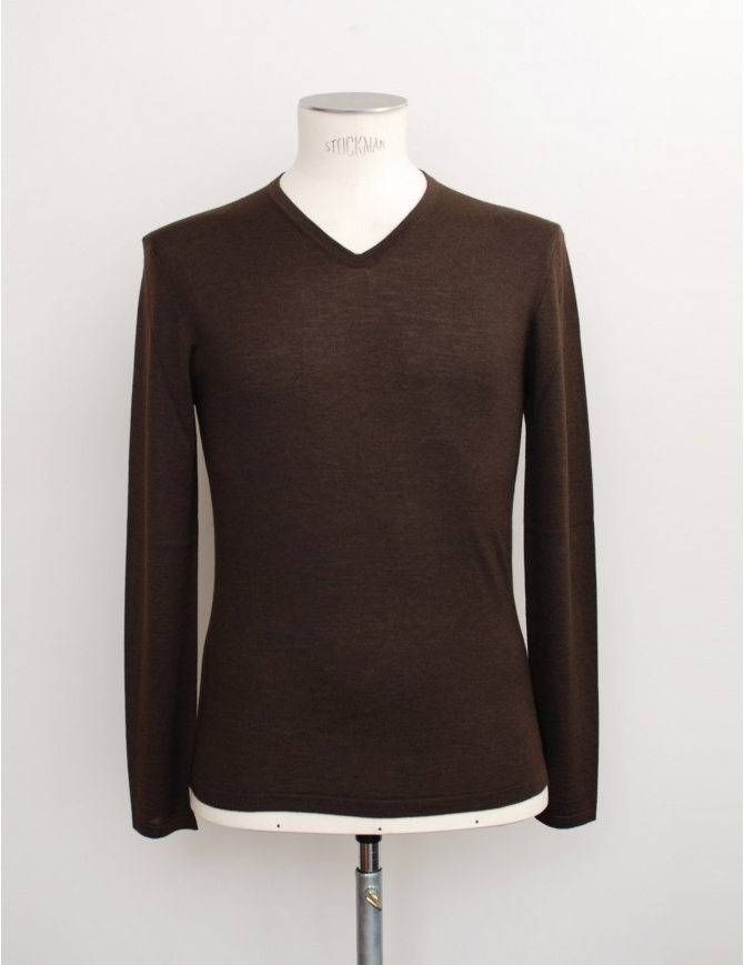 Adriano Ragni brown V-neck pullover 16 18 002 01 RG BROWN mens knitwear online shopping