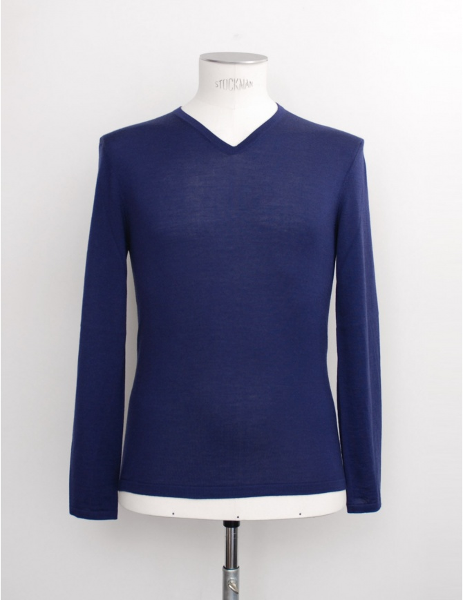 Adriano Ragni blue V-neck pullover 16 18 002 01 RG BLUE BL 01 mens knitwear online shopping