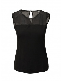 European Culture black semitransparent sleeveless shirt online