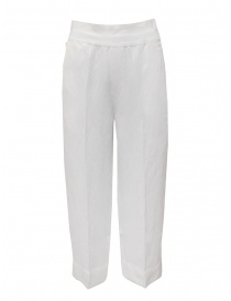 European Culture wide white linen and cotton pants 07EU 7076 1101 WHT order online