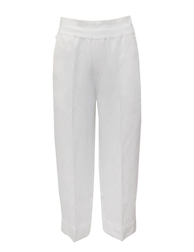 European Culture wide white linen and cotton pants 07EU 7076 1101 WHT womens trousers online shopping