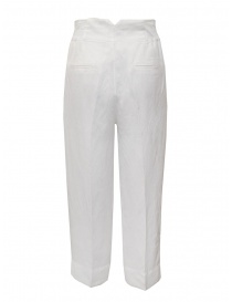 European Culture wide white linen and cotton pants