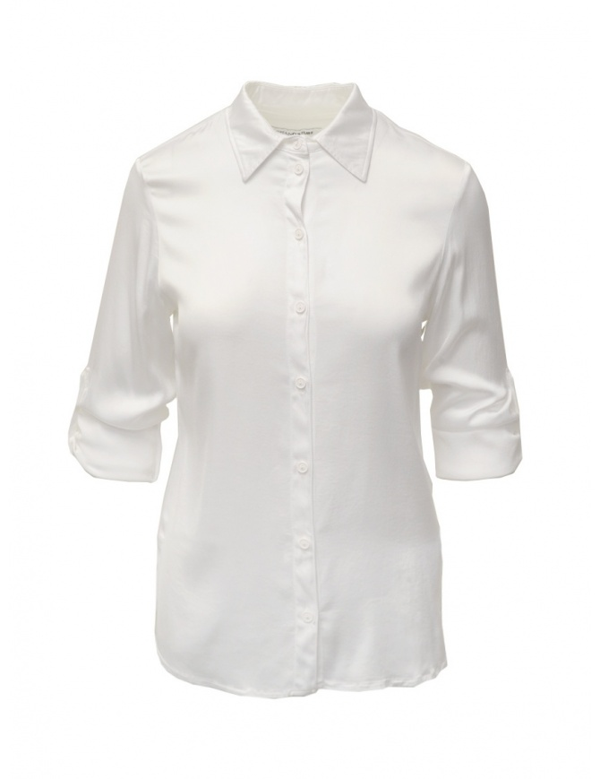 European Culture white shirt with rolled up sleeves 65B0 6492 1101 WHT womens shirts online shopping