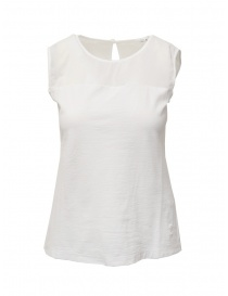 European Culture white semi-transparent sleeveless shirt online