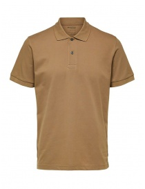 Mens knitwear online: Selected Homme cappuccino polo shirt in organic cotton piqué
