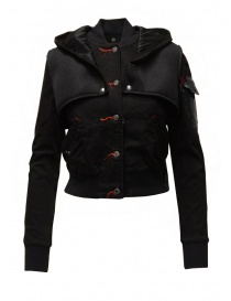 Womens jackets online: D.D.P. 2 in 1 black bomber jacket with detachable hood
