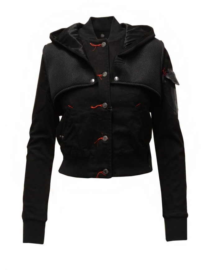 D.D.P. 2 in 1 black bomber jacket with detachable hood WBJ001 BLK womens jackets online shopping