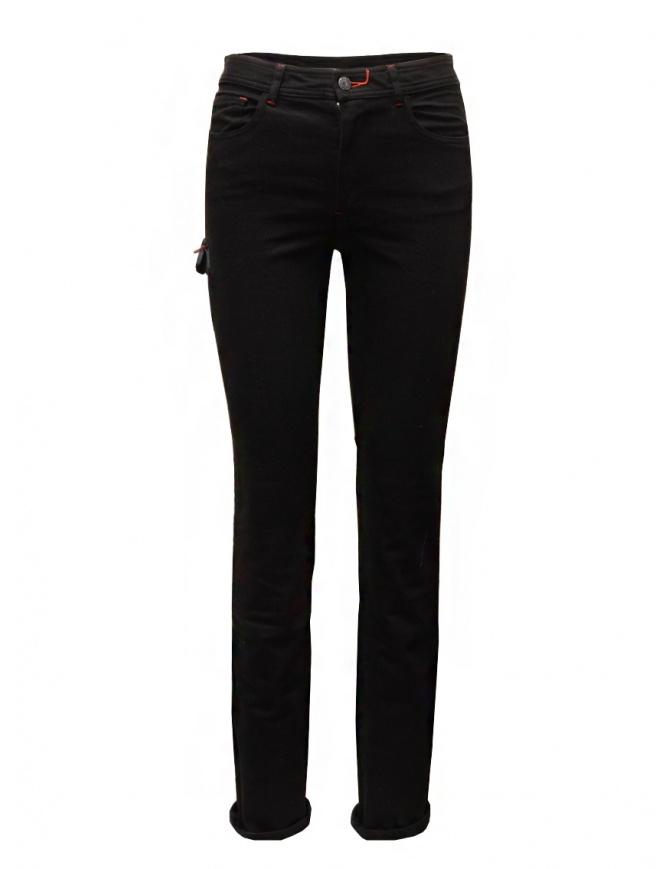 D.D.P. jeans neri con dettagli in pelle WFP001 BLK jeans donna online shopping