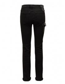 D.D.P. jeans neri con dettagli in pelle
