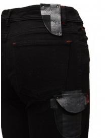 D.D.P. jeans neri con dettagli in pelle prezzo