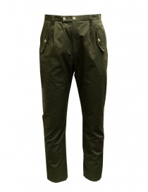 Mens trousers online: Camo Tyson green pants with front military pockets