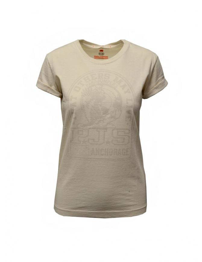 Parajumpers Unique T-shirt bianca con stampa PJS PWFLETS51 UNIQUE MOONBEAM t shirt donna online shopping