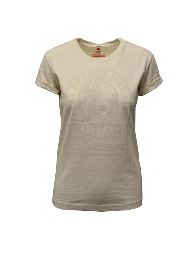 Parajumpers Unique white T-shirt with PJS print PWFLETS51 UNIQUE MOONBEAM womens t shirts online shopping