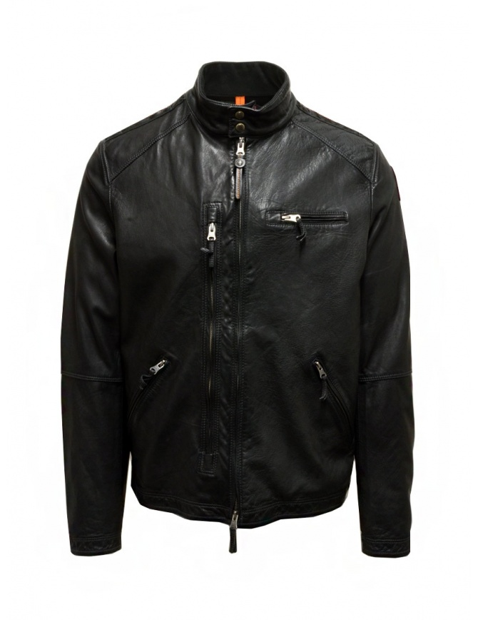 Parajumpers Justin Leather giacca in pelle nera PMJCKLE02 JUSTIN LEATH PHANTOM giubbini uomo online shopping