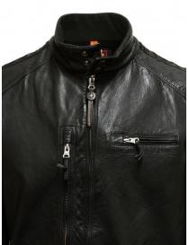 Parajumpers Justin Leather giacca in pelle nera giubbini uomo acquista online