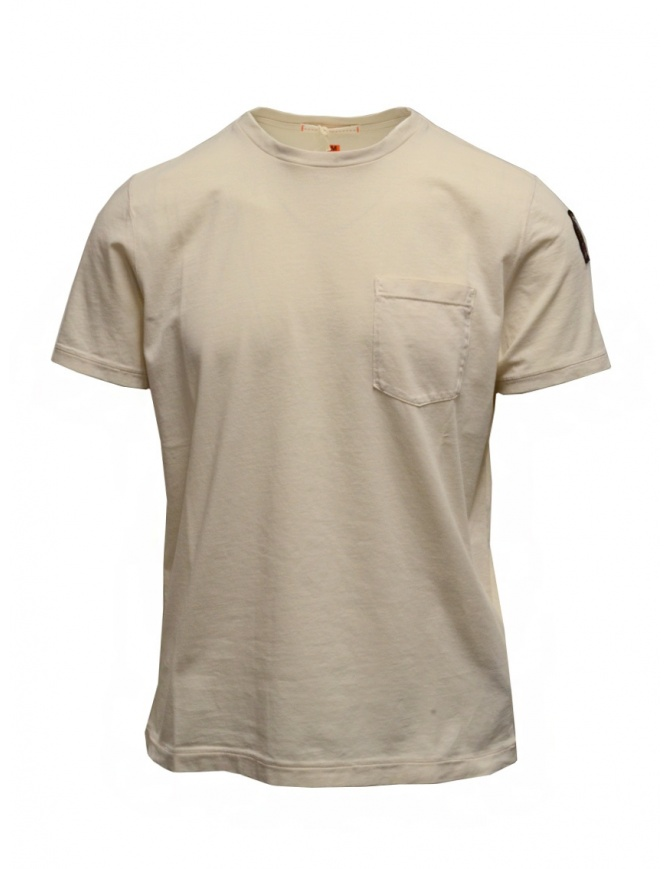 Parajumpers Basic Tee cream-colored t-shirt with pocket PMFLETS01 BASIC TEE MOONBEAM mens t shirts online shopping
