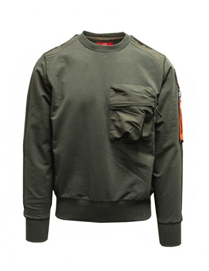 Parajumpers Sabre felpa verde con tasca frontale PMFLERE01 SABRE SYCAMORE maglieria uomo online shopping