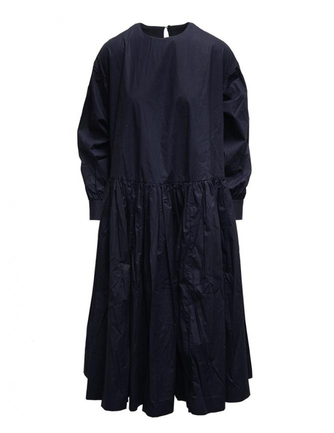 Casey Casey maxi long sleeve dress in blue cotton 15FR331 NAVY womens dresses online shopping