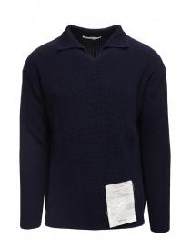 Ballantyne Raw Diamond pullover collo a camicia blu in cotone S2P082 7C037 13777 BLK-NVY order online