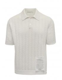 Ballantyne Raw Diamond pierced white cotton polo shirt online