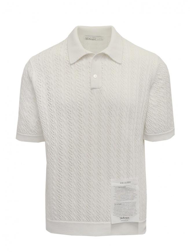 Ballantyne Raw Diamond polo traforata bianca in cotone S2W053 7C038 10014 WHT maglieria uomo online shopping