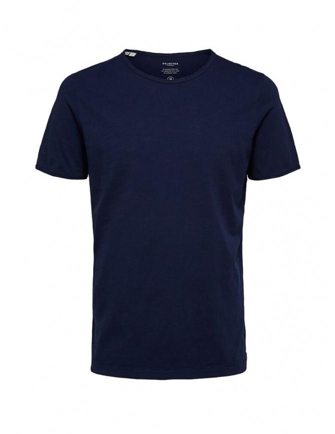Selected Homme t-shirt blu marittimo in cotone organico 16071775 MARITIME BLUE t shirt uomo online shopping