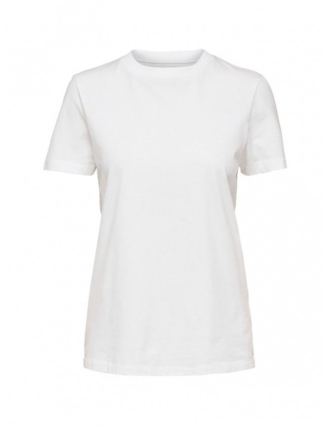 Selected Femme white T-shirt in Pima cotton 16043884 BRIGHT WHITE womens t shirts online shopping