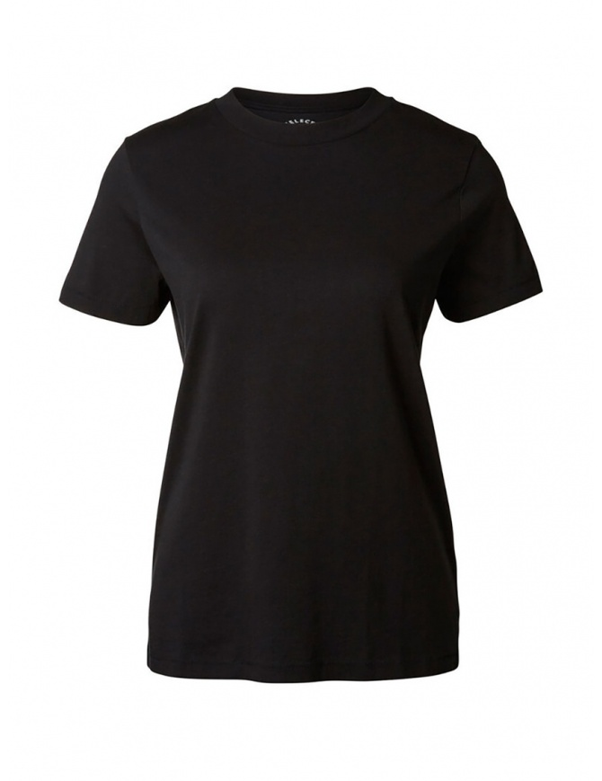 Selected Femme black T-shirt in Pima cotton 16043884 BLACK womens t shirts online shopping