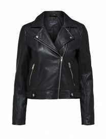 Selected Femme black leather biker jacket online