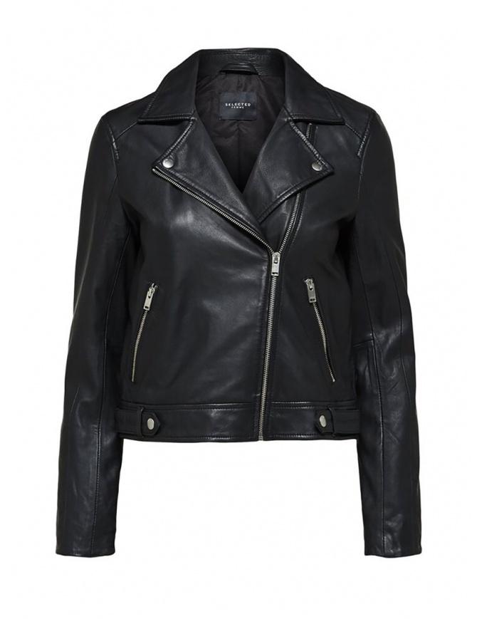 Selected Femme black leather biker jacket 16071712 LEATHER BLACK womens jackets online shopping