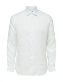 Mens shirts online: Selected Homme long sleeve white linen shirt