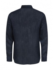Selected Homme long-sleeved shirt in blue linen