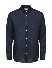 Camicie uomo online: Selected Homme camicia a maniche lunghe in lino blu
