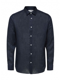 Mens shirts online: Selected Homme long-sleeved shirt in blue linen