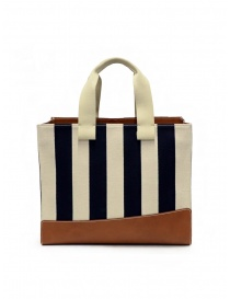 Il Bisonte Sole Fifty On tote bag a righe A3037..CTC C12A ECRU-BLUE/SIGARO order online