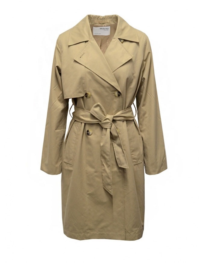 Selected Femme beige double-breasted trench coat 16076541 CORNSTALK womens coats online shopping