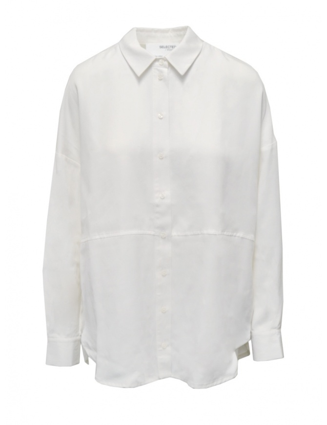 Selected Femme white long sleeve shirt in Tencel Lyocell 16077101 SNOW WHITW womens shirts online shopping