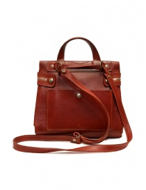 Guidi red leather shoulder bag with external pocket
