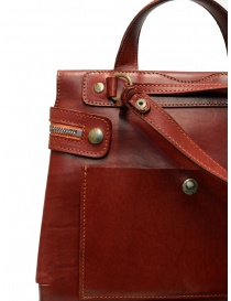 Guidi red leather shoulder bag with external pocket buy online price
