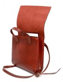Guidi borsa rossa GD03 a tracolla con patta in pelle