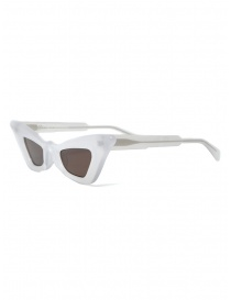 Kuboraum Y7 PL pearl-colored cat-eye sunglasses with brown lenses