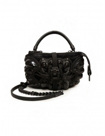 Bags online: Innerraum black shoulder bag in leather, rubber and mesh