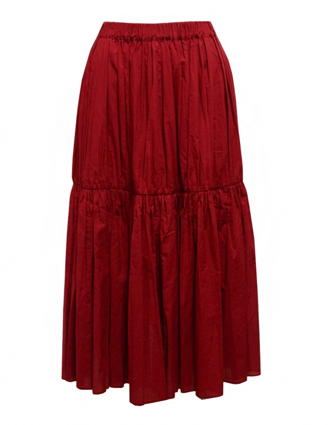 Sara Lanzi red pleated gathered skirt 04E.CO2.05 RED womens skirts online shopping