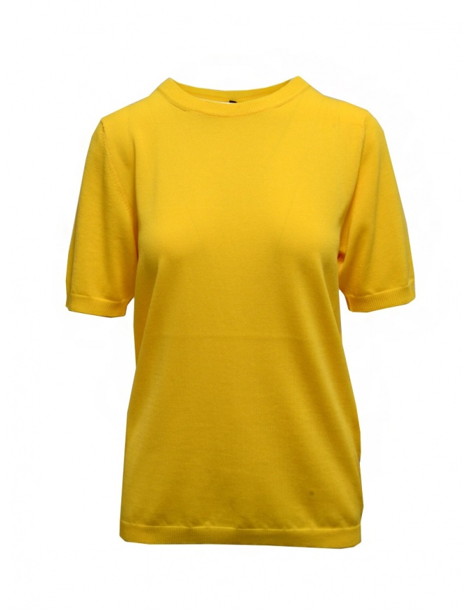 Sara Lanzi yellow cotton knit t-shirt 04M.CO4.03 YELLOW womens t shirts online shopping