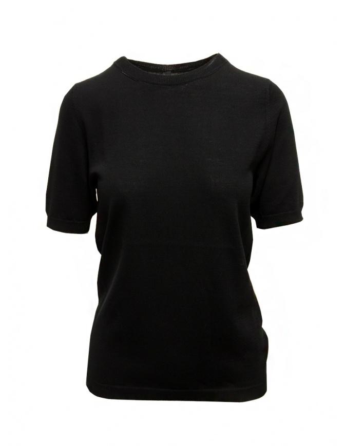Sara Lanzi black cotton knit T-shirt 04M.CO4.09 BLACK womens t shirts online shopping