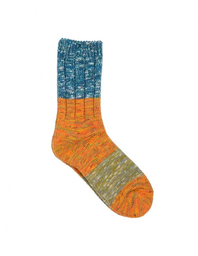 Kapital blue, orange, green horizontal striped socks EK-660 ORANGE socks online shopping