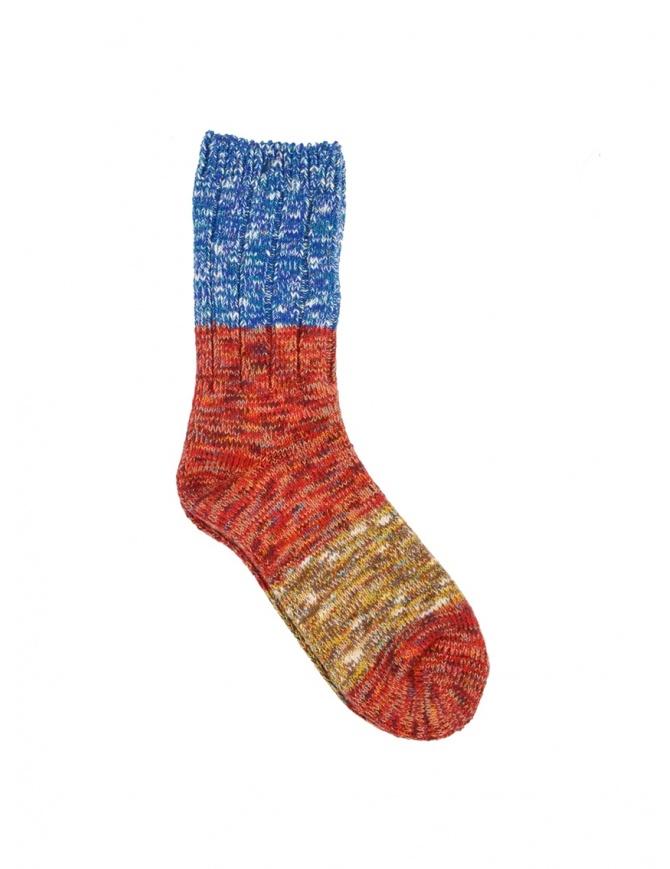 Kapital Van Gogh socks in melange red, blue, beige EK-660 RED socks online shopping