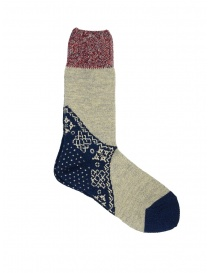 Kapital bandana patterned socks in blue, grey, red online